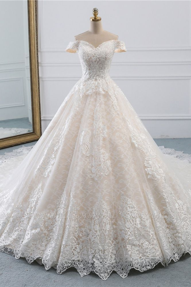 Luxury Ball Gown Off-the-Shoulder Lace Wedding Dress Sweetheart Sleeveless Appliques Bridal Gowns On Sale