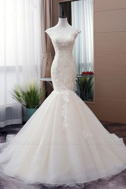 Glamorous Jewel Tulle Mermaid Iovry Wedding Dress Lace Appliques Sleeveless Bridal Gowns On Sale