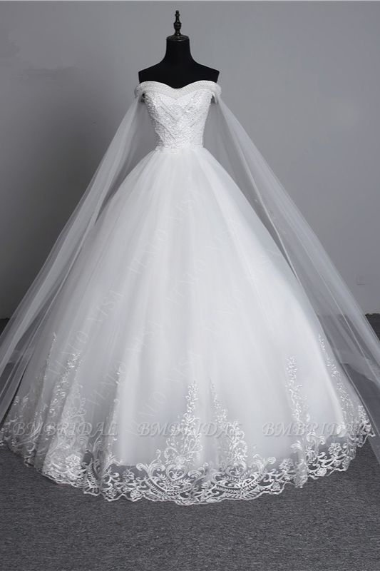 BMbridal Glamorous Strapless Sweetheart Tulle Wedding Dress Sleeveless Appliques Bridal Gowns with Rhinestones On Sale