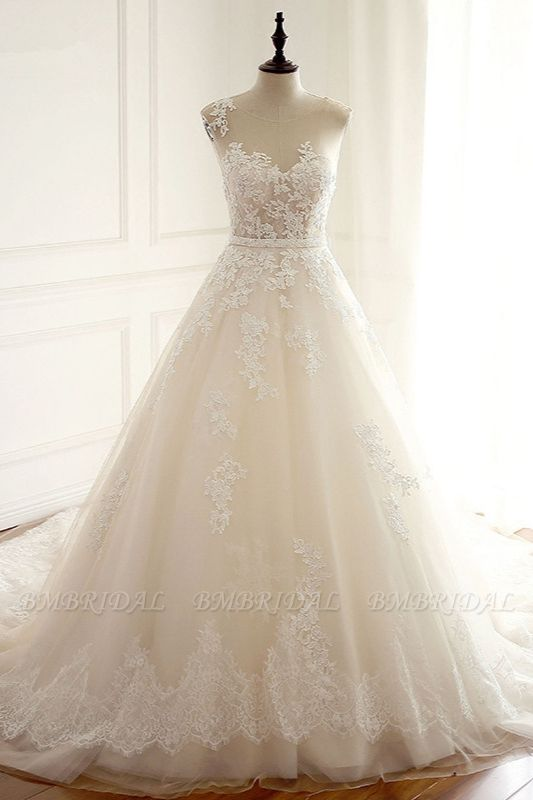 Stylish Jewel A-Line Tulle Ivory Wedding Dress Appliques Sleeveless Bridal Gowns with Beading Sash Online
