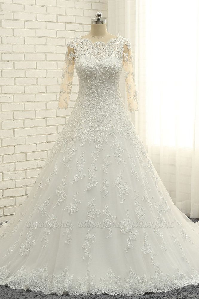 BMbridal Elegant A-Line Jewel White Tulle Lace Wedding Dress 3/4 Sleeves Appliques Bridal Gowns with Pearls