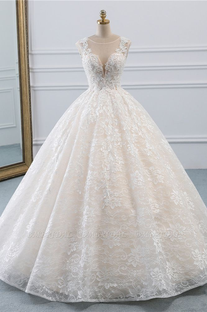 Exquisite Jewel Sleelveless Lace Wedding Dress Ball Gown appliques Bridal Gowns Online
