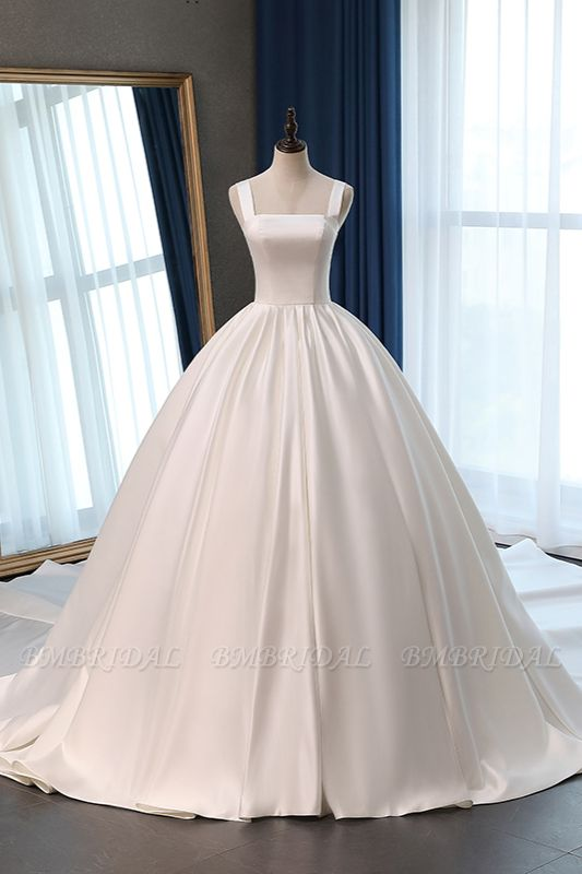Elegant Ball Gown Straps Square-Neck Wedding Dress Ruffles Sleeveless Bridal Gowns Online