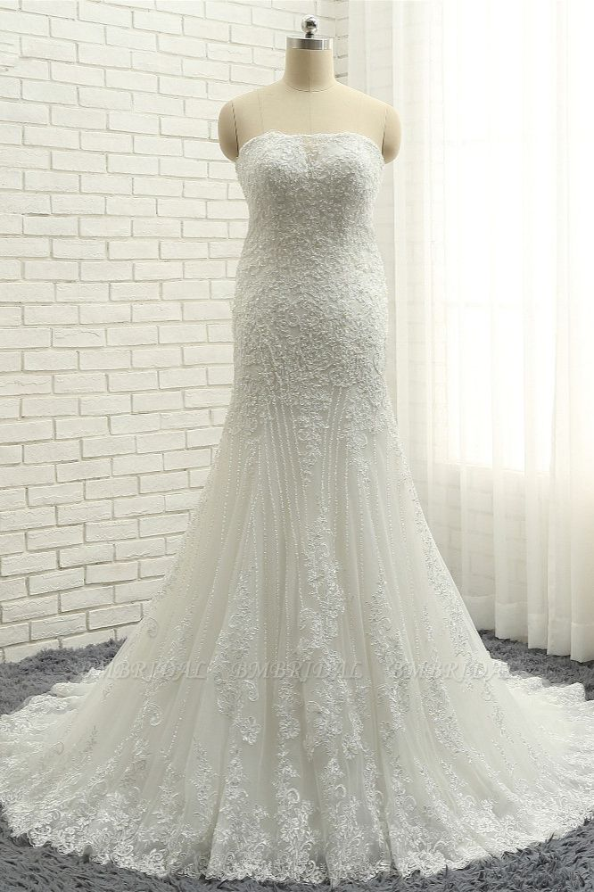 BMbridal Elegant Bateau White Mermaid Wedding Dresses With Appliques Ruffles Lace Bridal Gowns On Sale