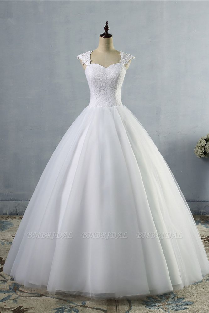 Affordable Sweetheart Tulle Lace Wedding Dresses Cap-Sleeves Appliques Bridal Gowns Online