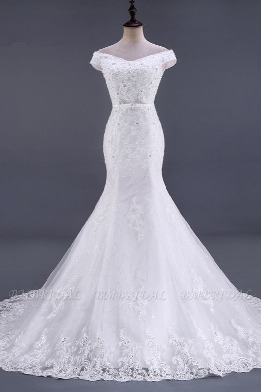 BMbridal Elegant Mermaid Off-the-Shoulder White Wedding Dress Sweetheart Sleeveless Lace Appliques Bridal Gowns with Rhinestones