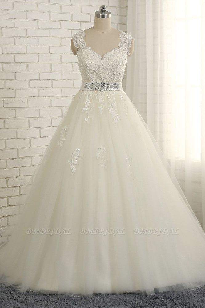 BMbridal Sexy Straps Sleeveless Lace Wedding Dresses With Appliques A line Tulle Ruffles Bridal Gowns On Sale