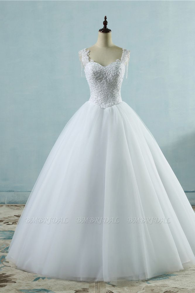 BMbridal Glamorous Straps Sweetheart White Wedding Dress Sleeveless Appliques Beadings Bridal Gowns