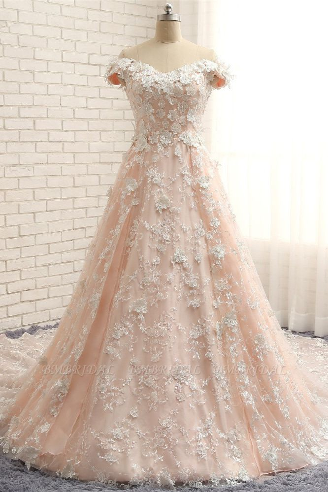BMbridal Chic Off-the-shoulder Pink A-line Wedding Dresses With Appliques V-neck Lace Bridal Gowns Online