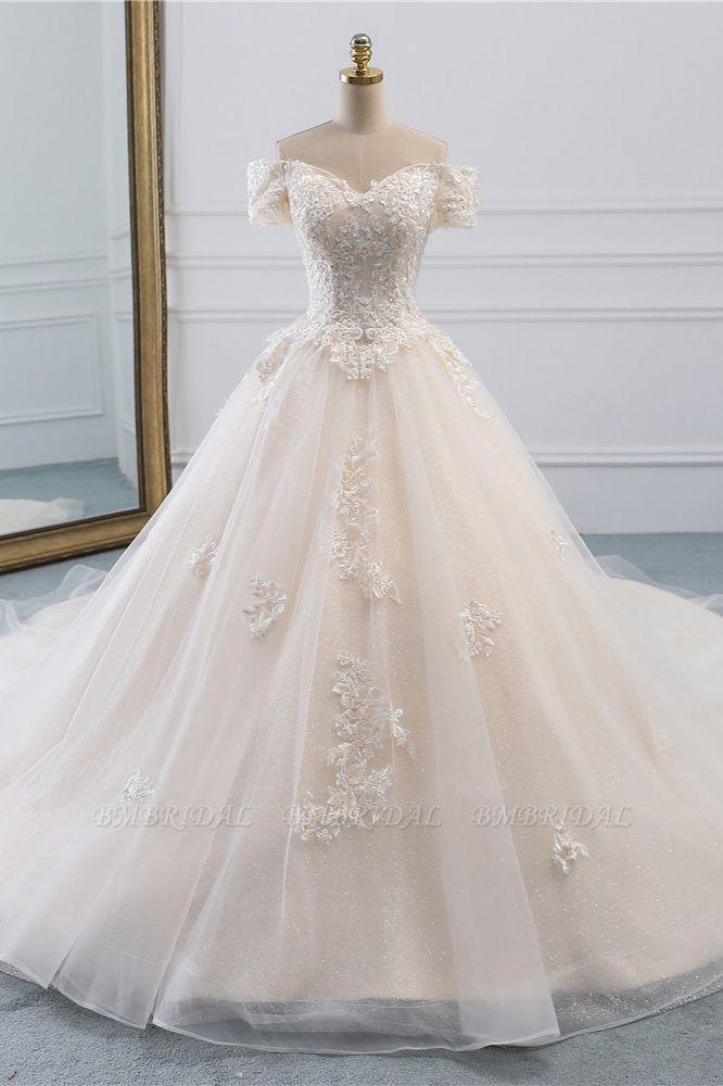 Affordable Off-the-Shoulder White Tulle Lace Wedding Dress Sweetheart Appliques Bridal Gowns On Sale