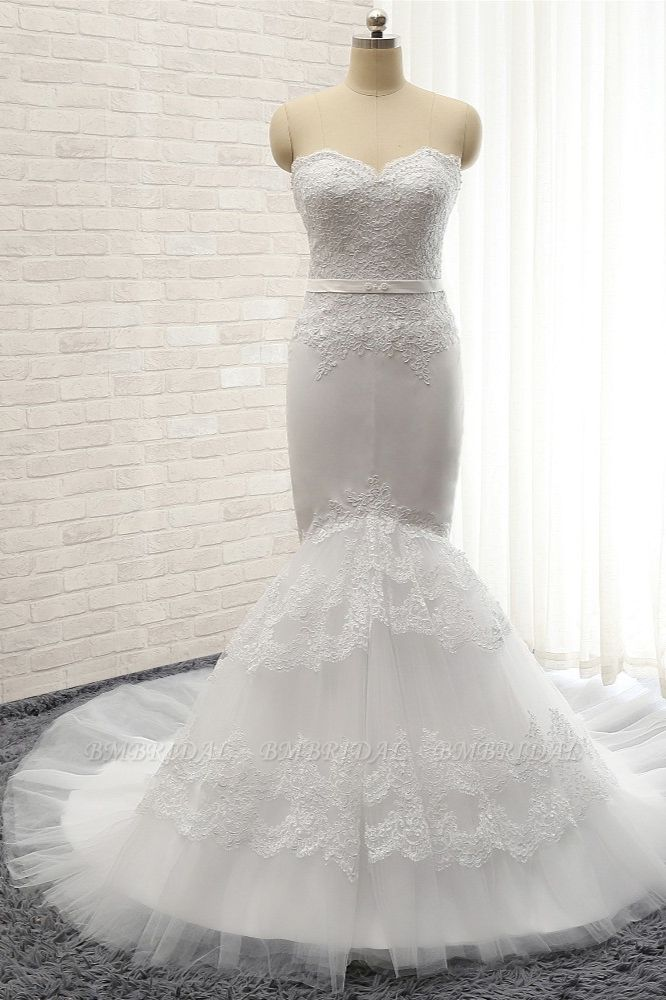 BMbridal Affordable Sweetheart White Lace Wedding Dresses Tulle Satin Bridal Gowns With Appliques On Sale