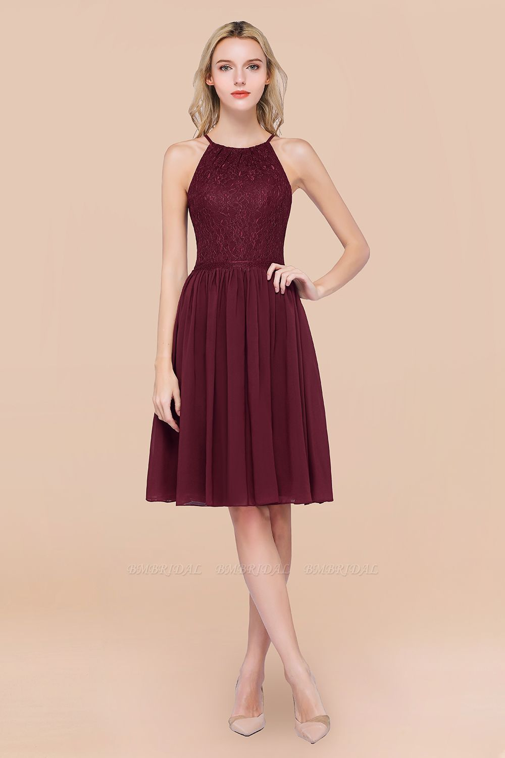 BMbridal Lovely Burgundy Lace Short Bridesmaid Dress With Spaghetti-Straps