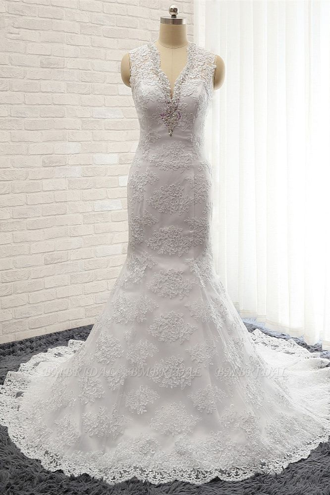 Chic Mermaid V-Neck Lace Wedding Dress Appliques Sleeveless Beadings Bridal Gowns On Sale