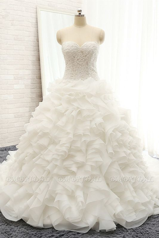 BMbridal Chic Sweatheart White A line Wedding Dresses Sleeveless Tulle Bridal Gowns Online