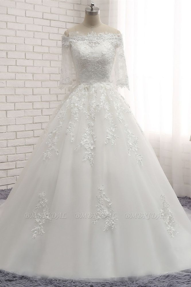 Gorgeous Bateau Halfsleeves White Wedding Dresses With Appliques A-line Tulle Ruffles Bridal Gowns Online