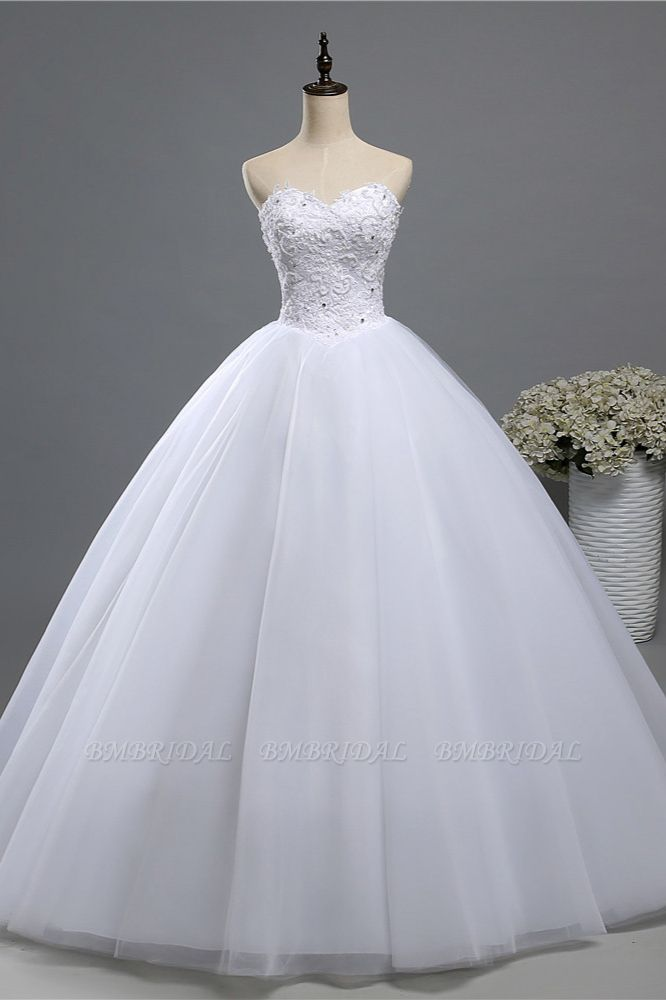BMbridal Chic Strapless Sweetheart Tulle Lace Wedding Dresses Sleeveless Appliques Bridal Gowns with Beadings