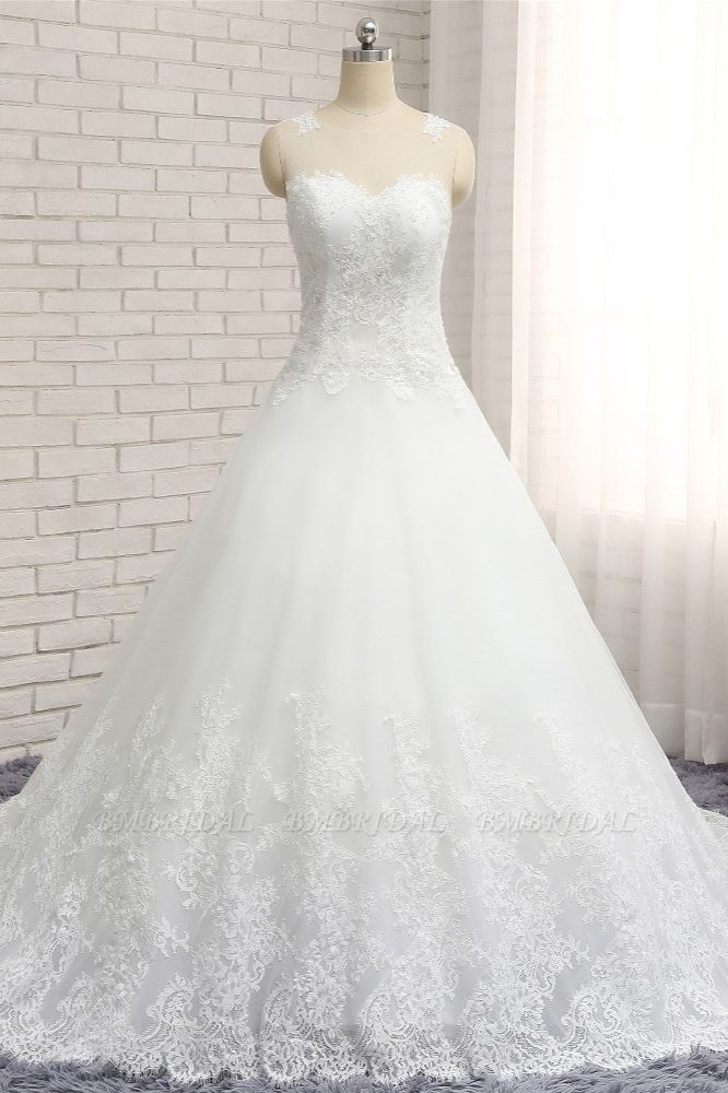 Chic White A-line Tulle Wedding Dresses Jewel Sleeveless Ruffle Bridal Gowns With Appliques On Sale