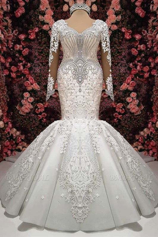 Sexy V-neck Longsleeves Lace Wedding Dresses With Appliques White Mermaid Bridal Gowns Online