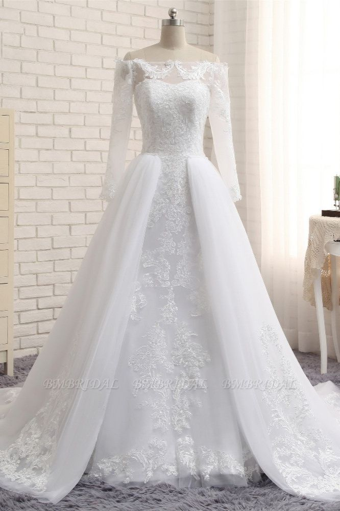 Unique Bateau Longsleeves A-line Wedding Dresses With Appliques White Tulle Bridal Gowns On Sale