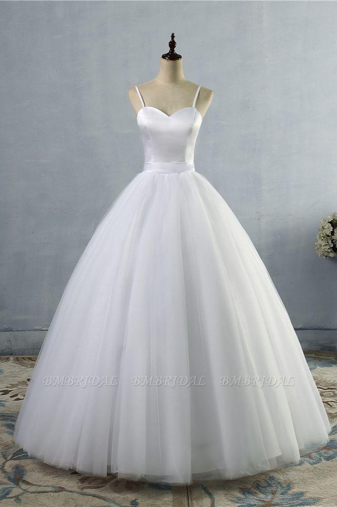 BMbridal Glamorous Spaghetti Straps Sweetheart Wedding Dresses White Sleeveless Bridal Gowns Online