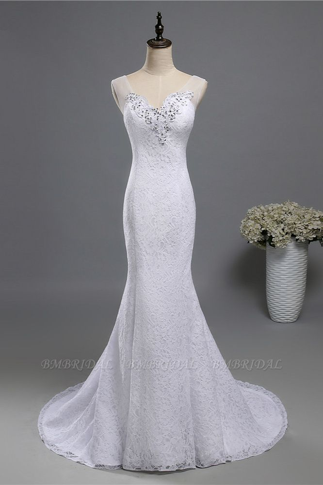 BMbridal Stylish V-Neck White Lace Mermaid Wedding Dress Appliques Sleeveless Sequins Bridal Gowns