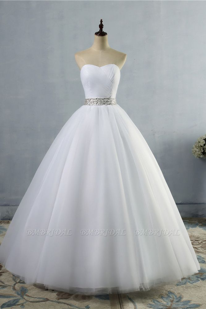 Gorgeous Strapless Sweetheart Tulle Wedding Dress Sleeveless Ruffles Bridal Gowns with Beadings Sash