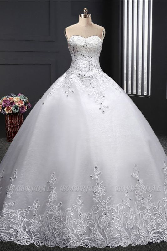 BMbridal Affordable Strapless Sweetheart Ball Gown Wedding Dress Appliques Sleeveless Bridal Gowns with Beadings