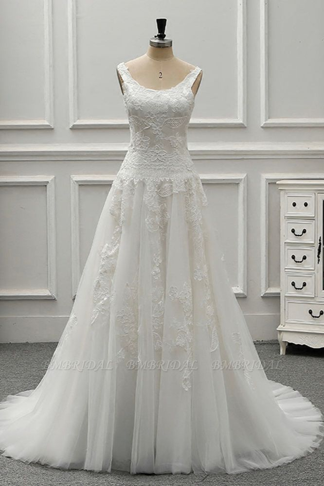 BMbridal Chic Straps Jewel Tulle Lace Wedding Dress Sleeveless Appliques White Bridal Gowns On Sale