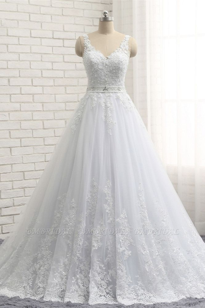 Stunning Straps V-Neck Tulle Appliques Wedding Dress Lace Sleeveless Bridal Gowns with Beadings Online