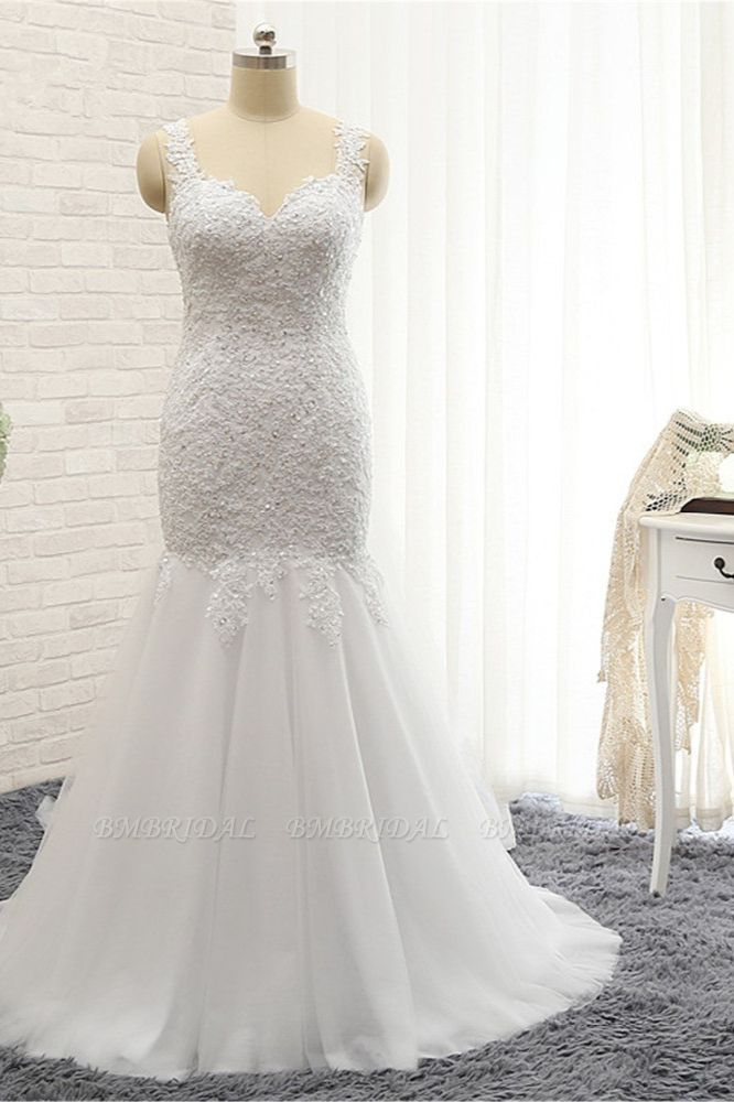 BMbridal Glamorous Strapless Sweetheart Lace Mermaid Wedding Dress White Tulle Appliques Bridal Gowns Online