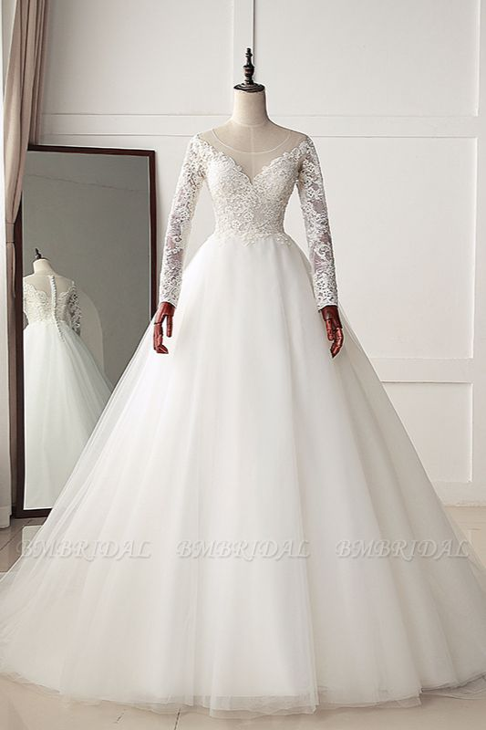 BMbridal Elegant Jewel Tulle Lace White Wedding Dress A-Line Long Sleeves Appliques Bridal Gowns On Sale