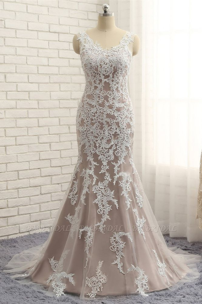BMbridal Affordable Straps V-Neck Tulle Appliques Wedding Dress Sleeveless Lace Bridal Gowns On Sale