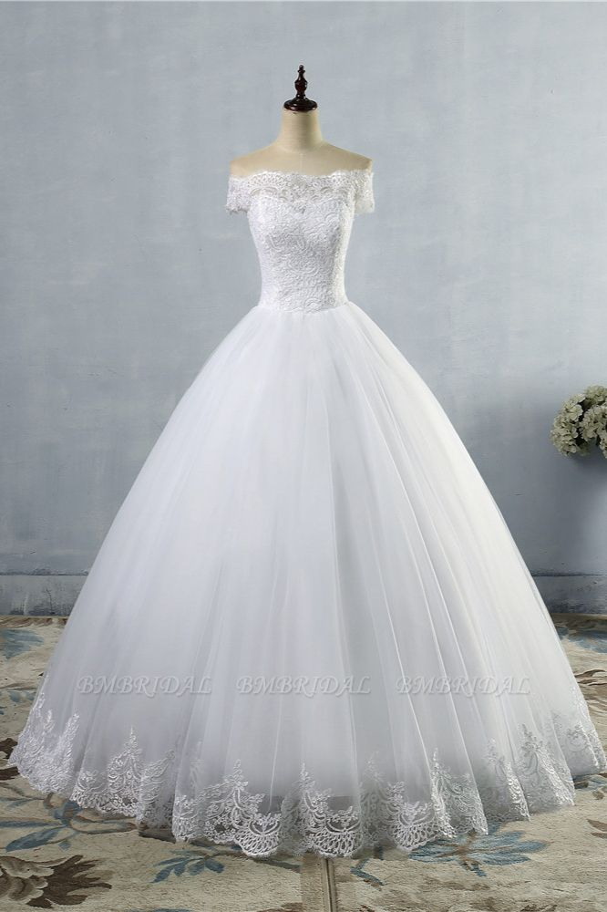BMbridal Affordable Off-the-Shoulder Lace Tulle Wedding Dress Short Sleeves White Bridal Gowns On Sale