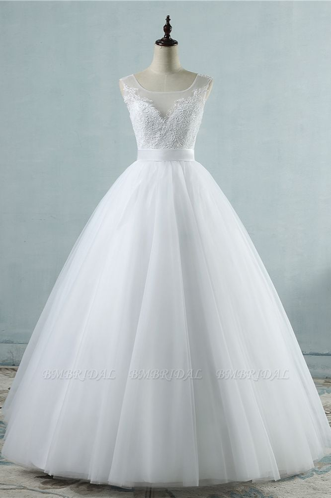 BMbridal Chic Square Neckling Sleeveless Wedding Dresses White Tulle Lace Bridal Gowns On Sale