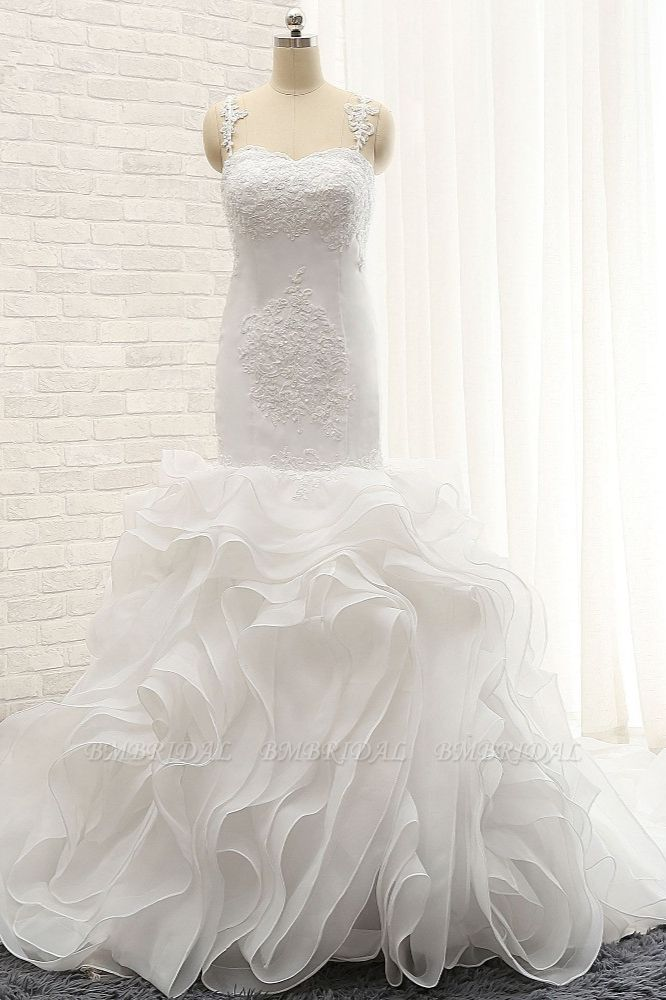 BMbridal Sexy Sleeveless Straps Ruffles Wedding Dresses With Appliques White Mermaid Satin Bridal Gowns Online