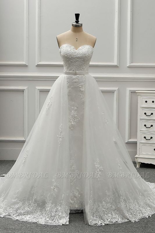 BMbridal Stylish Strapless Sweetheart Tulle White Wedding Dress Appliqes Sleeveless A-Line Bridal Gowns On Sale