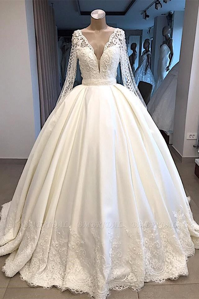 Elegant V-neck Longsleeves White Wedding Dresses Satin Lace Bridal Gowns With Appliques On Sale