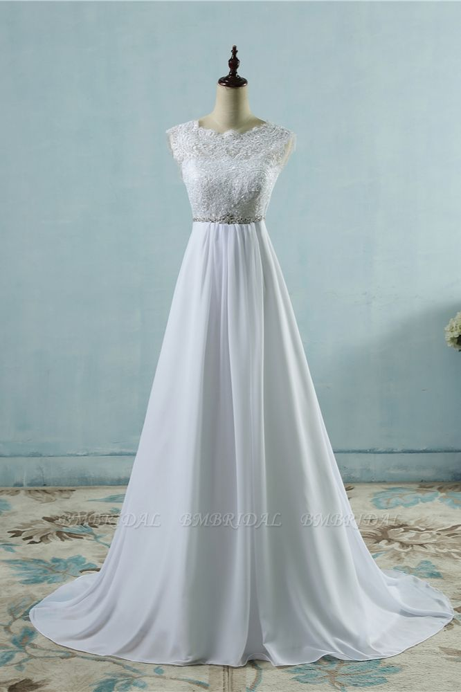 Affordable Chiffon Jewel Lace Ruffles Wedding Dress Sleeveless Appliques Bridal Gowns with Beading Sash