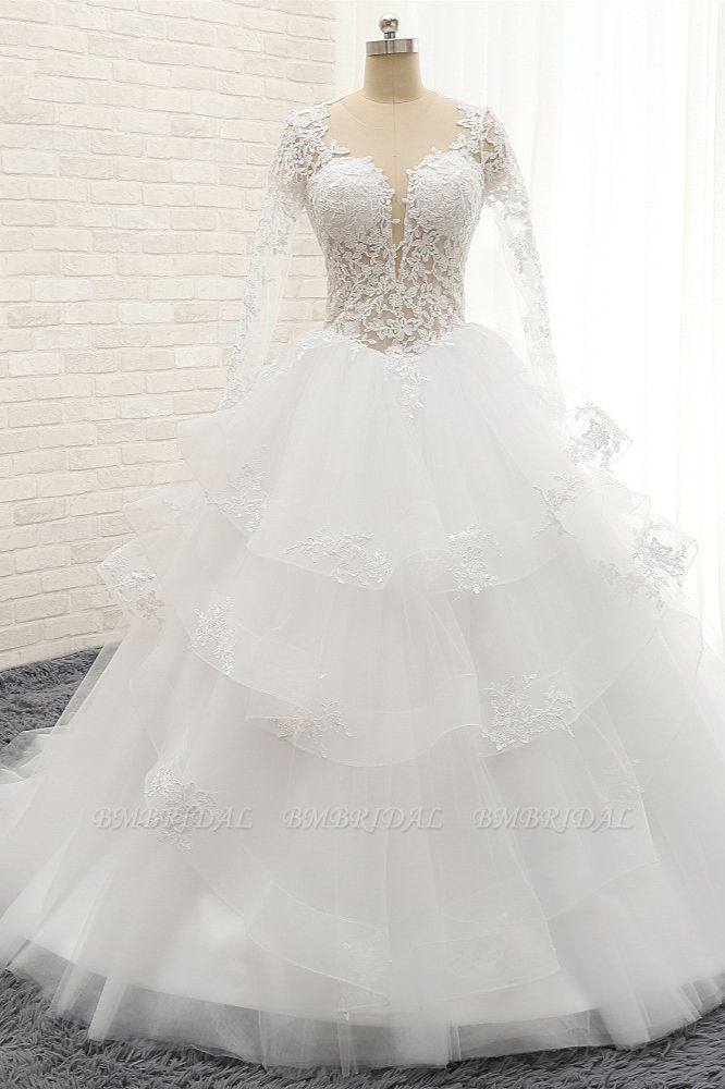 Glamorous Longlseeves Tulle Ruffles Wedding Dresses Jewel A-line White Bridal Gowns With Appliques On Sale