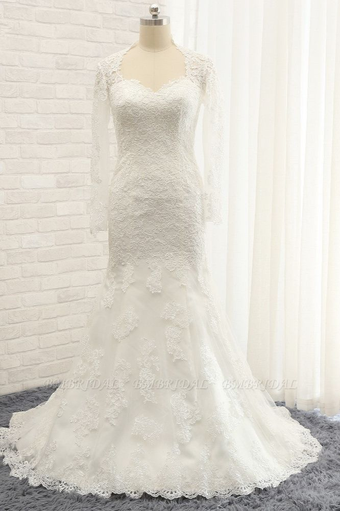 BMbridal Modest Longsleeves White Mermaid Wedding Dresses Satin Lace Bridal Gowns With Appliques Online