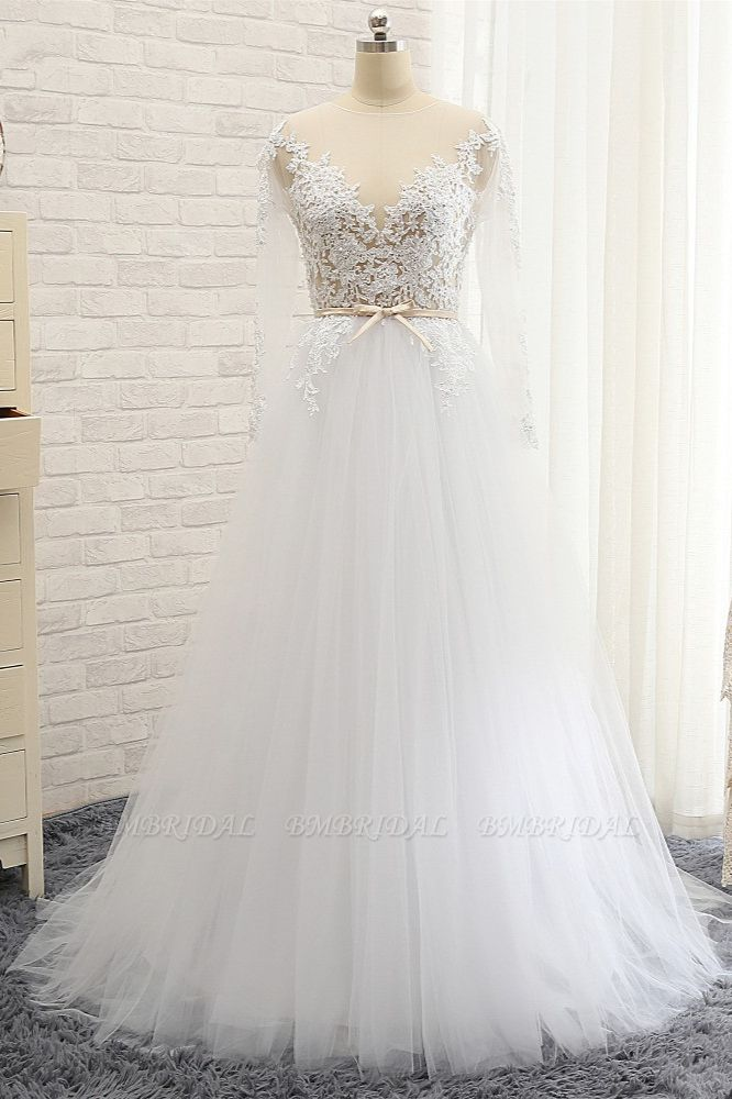 Affordable White Tulle Ruffles Lace Wedding Dresses Jewel Longsleeves Bridal Gowns With Appliques On Sale
