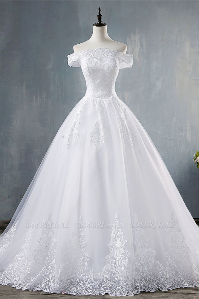 Gorgeous Off-the-Shoulder White Tulle Wedding Dress Lace Appliques Bridal Gowns On Sale
