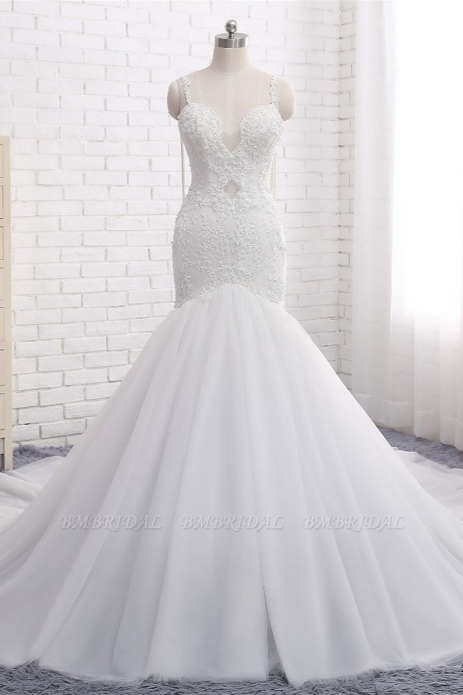 BMbridal Gorgeous Spaghetti Straps V-Neck Mermaid Wedding Dress White Lace Appliques Sleeveless Bridal Gowns Online