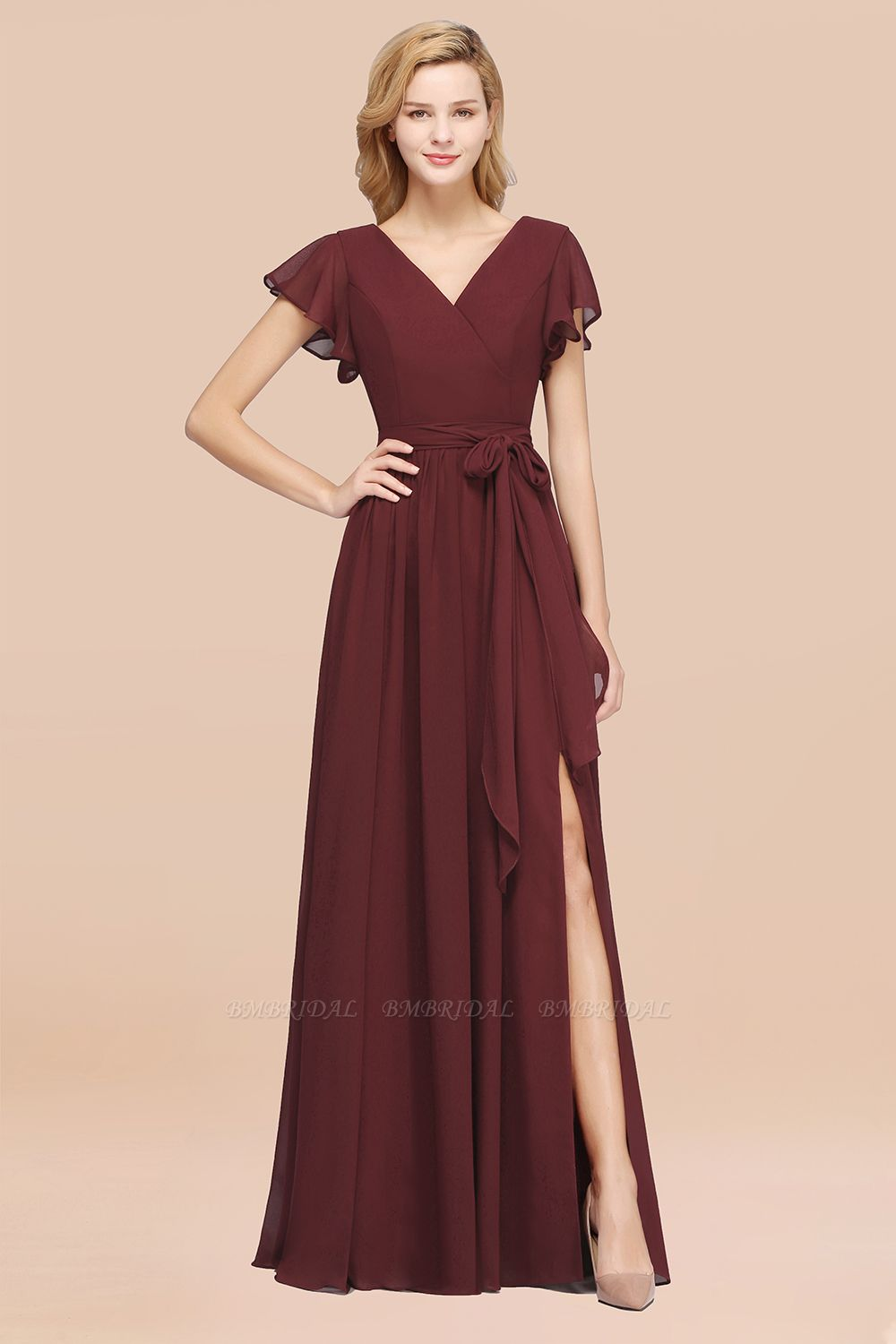 BMbridal Burgundy V-Neck Long Bridesmaid Dress With Short-Sleeves