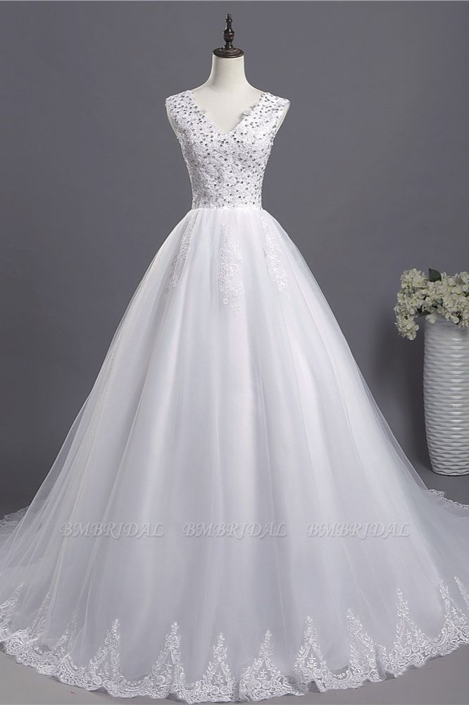 BMbridal Glamorous V-Neck Sequins White Tulle Wedding Dress Sleevels Lace Appliques Bridal Gowns On Sale