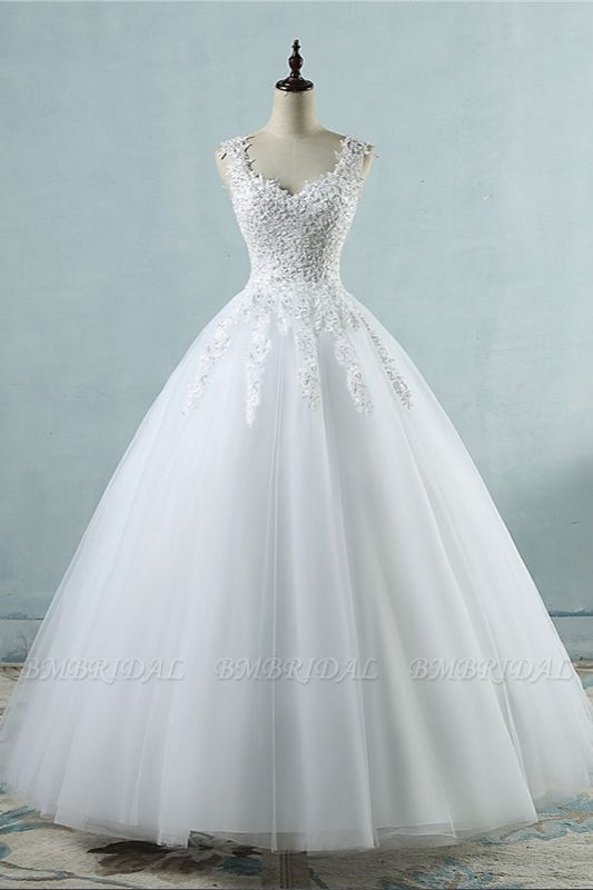 BMbridal Glamorous V-Neck Tulle Lace Beadings Wedding Dress Appliques Tulle Bridal Gowns with Rhinestones