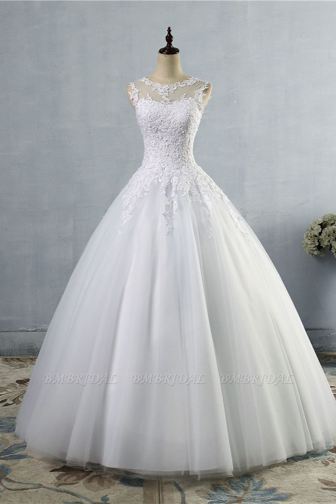 BMbridal Ball Gown Jewel Tulle Lace Wedding Dress White Appliques Sleeveless Bridal Gowns On Sale