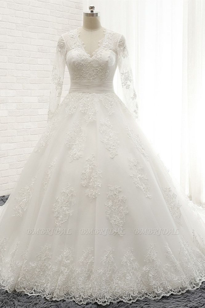 Affordable V neck Longsleeves Tulle Wedding Dresses A line Lace Bridal Gowns With Appliques On Sale