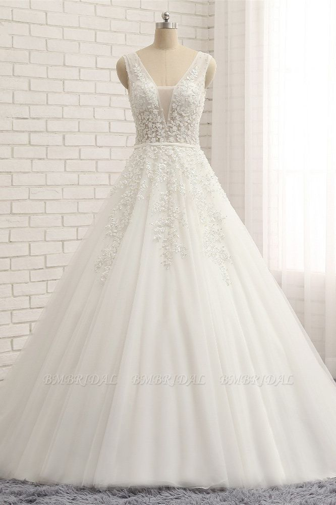 Gorgeous Straps Sleeveless White Wedding Dresses With Appliques A-line Tulle Ruffles Bridal Gowns Online