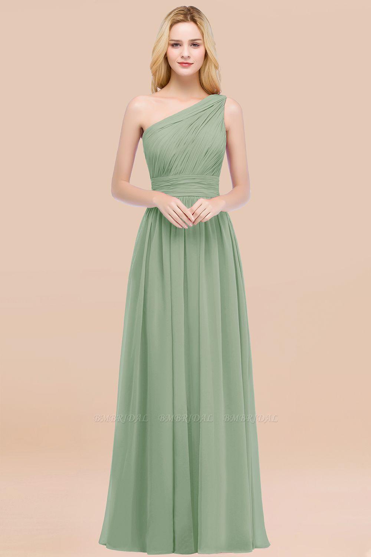 Chic One-shoulder Sleeveless Burgundy Chiffon Bridesmaid Dresses Online